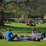 Students Relaxing on Lawn