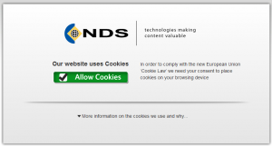 NDS website requiring users to consent to cookies to use site