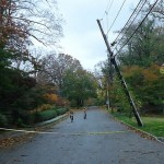 Aftermath of Hurricane Sandy in Summit, New Jersey. Broken utility pole.