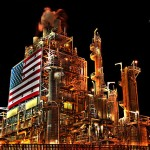 Manufacturing Plant with American Flag
