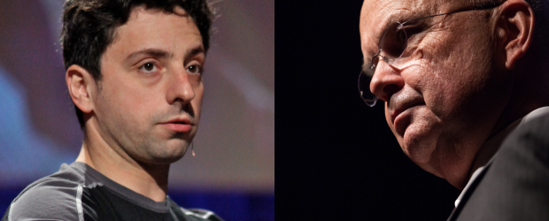 Sergey Brin, co-founder of Google, and General Michael Hayden, former Director of the CIA and NSA